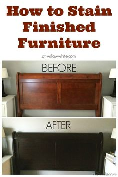 Gel Stain...Cherry to Espresso Sleigh Bed – Before and After …