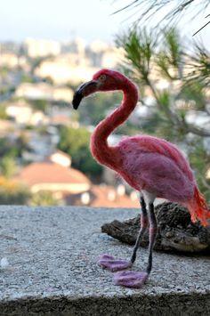 Needle Felted Bird. Flamingo. by darialvovsky on Etsy