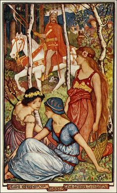 Henry Justice Ford ~ The Emperor Meets the Three Sisters ~ The Violet Fairy Book by Andrew Lang ~ 1901 ~ via The Pictorial Arts
