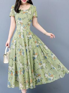 #Valentine's Day Sale! #EnvyWe #BerryLook - #berrylook Round Neck  Floral Printed Maxi Dress - EnvyWe.com