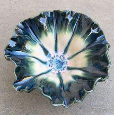 Cone 6 Fluted Bowl. Amaco Storm under Seaweed w/ Coyote Archie's Base.