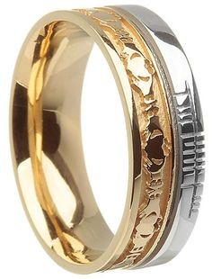 14k Two Tone Gold Claddagh with Ogham Script Wedding Ring