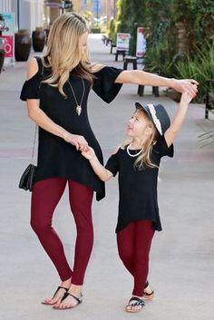 Mommy & Me toddlers & girls burgundy leggings