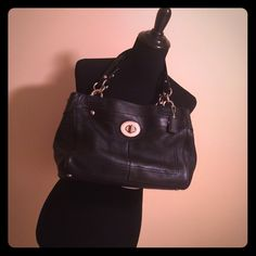 Coach shoulder bag Black leather, some wear, medium size bag with lots of organization! Includes dust bag! Coach Bags Shoulder Bags