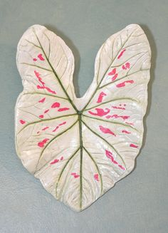 Strawberry Star Caladium wall art created by sand casting a real leaf. Hand painted cement.