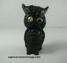 1970s Owl Figurine made from Coal Google Eyes Coal Crafters Inc. Vintage Kitsch Retro Room Decor