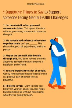 """Click to read the complete article."""" Offering mental health support isn't always easy to do. Read to find 5 things to say to offer mental health support at HealthyPlace."""" www.HealthyPlace.com"""