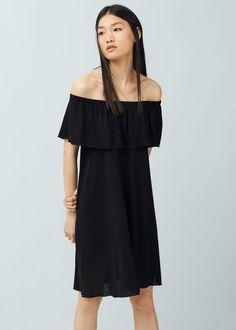 a36f723415a3 Off shoulder dress | MANGO White Beach Shirt, Mango Outlet, Mango France,  Slit