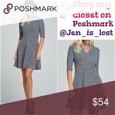 CHOKER FRONT KEY HOLE DRESS CHOKER FRONT KEY HOLE HALF SLEEVE DRESS  Color Gray/Navy Fabric Content: 70% polyester/ 30% rayon Dresses Midi