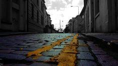 Urban yellow @Edinburgh #urban_yellow #yellow #almost_greyscale #lines #blue #purple pedestrian #street #urbanism #city_centre #photography #illustration #Edinburgh #High_Riggs #reflections