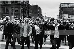 Leaders of the radical American student group the Weathermen, (left to right) Jim Mellen, Peter Clapp, John Jacobs, Bill Ayers, and Terry Robbins (1946 - 1970), march at the van of a group of demonstrators during the 'Days of Rage' actions organized by the Weathermen to protest the trial of the Chicago Seven and 'to bring the war home.' (Photo by David Fenton/Getty Images)