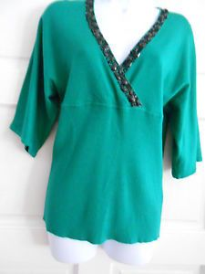 womans top shirt knit top green sz L style&co 3/4 sleeves office dressy