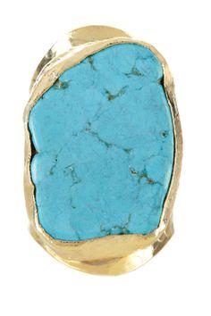 24K gold plated hammered bezel set freeform sliced turquoise adjustable ring
