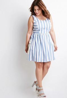 Plus Size Outfit styles can be soft and fluid. Striped Dress be quite harmonious appearance to your figure. If you will wear striped dress, you need consider this ideas. Striped Dress Outfit, Dress Outfits, Dress Up, Fashion Outfits, Dress Form, Fit Flare Dress, Fit And Flare, Plus Size Dresses, Plus Size Outfits