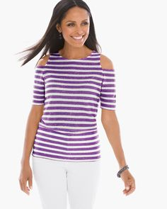 Chico's Women's Sequin Striped Cold-Shoulder Top