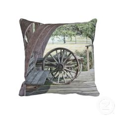 double sided pillow - old bench & wagon wheel at Sylvan Beach Depot in La Porte, TX