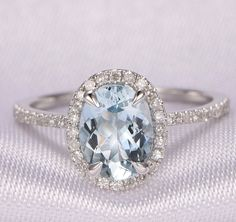 Aquamarine Engagement ring,6x8mm Oval Cut Stone,14k White gold,Blue stone,diamond Wedding Band,Personalized for her/him,Birthstone ring by milegem on Etsy