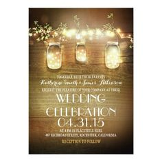 Fairy Lights & Mason Jars Rustic Wedding Invitations - I love these unique and romantic wedding invites with a brown wood background. ad