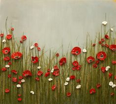 In this very sculptural piece red and white poppies peek adorn a hazy cornfield. The individual flowers are made of paper, then dipped in beeswax, painted and covered with a protective high gloss finish. poppies Art and wall décor by Catherine Brink Popp Sculpture Painting, Learn To Paint, Texture Painting, Clay Art, Flower Art, Art Projects, Canvas Art, Wall Decor, Poppies Art