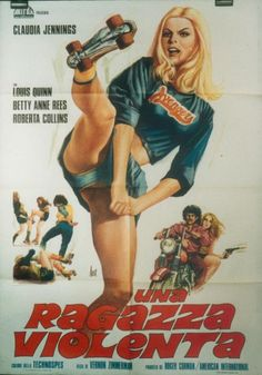 """Unholy Rollers (Vernon Zimmerman, 1972) - gleefully over-the-top portrait of the roller derby scene ... a masterpiece of calculated bad taste that he called """"GUN CRAZY on wheels.""""  """"UNHOLY ROLLERS is so bad it's good. The film flaunts its uninhibited love for everything decent folk call Bad Taste: traveling salesmen jokes, tufted velvet sofas, STP decals, greaser rock, suede hot pants, vinyl boots – and roller derbies. ... hard, fast, and vulgar, full of life and personality."""" Paul Schrader"""