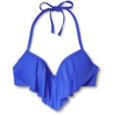 Women's Push Up Halter Flounce Bikini Top Xhilaration ($20) ❤ liked on Polyvore featuring swimwear, bikinis, bikini tops, push-up bikinis, halter top, push up swim top, ruffle bikini top and halter bikini