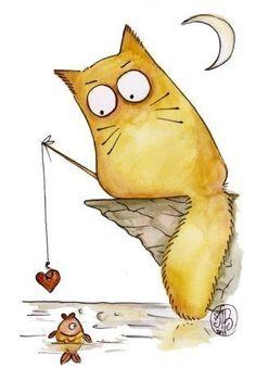 Kitty loves the fish - Maria van Bruggen♥ I Love Cats, Crazy Cats, Cute Cats, Funny Cats, Cat Doodle, Illustration Art, Illustrations, Photo Chat, Cat Drawing