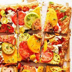 Tomato, Prosciutto, and Ricotta Tart | Puff pastry, prosciutto, ricotta, lemon, tomatoes, chives, basi