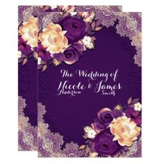 #Purple Elegant Lace & Floral Country Chic Wedding Card - #weddinginvitations #wedding #invitations #party #card #cards #invitation #lace