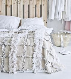 Moroccan wedding blanket | Fashion Squad with some grey to pick up the floor. Like the crates as headboards too!