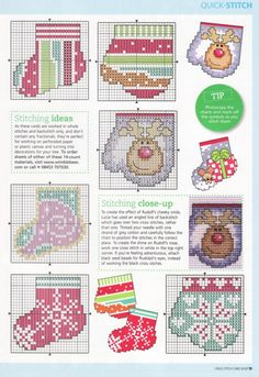 winter warmers: more of these little stockings and mittens charts can be found on the site