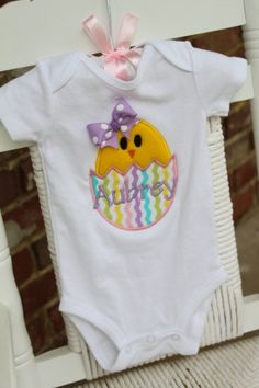 Baby Girl Easter Onesie -- Pretty Little Chickie -- personalized onesie. $28.00, via Etsy.   http://www.etsy.com/listing/94772354/baby-girl-easter-onesie-pretty-little?ref=sr_gallery_5_search_query=baby+girl+easter_view_type=gallery_ship_to=US_page=3_search_type=all