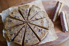 Three layer no-bake cake - brownie, vanilla cheesecake and chocolate chip cookie dough