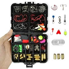 Tackle Assortment Box Fishing Accessories - 128Pcs/Set Include Hooks, Swivels, Double Loops, Spinners, Luminous Balls, Leaders, Line Stoppers, Jig Heads, Eagle Claw Hook, Sinker Etc  https://fishingrodsreelsandgear.com/product/tackle-assortment-box-fishing-accessories-128pcs-set-include-hooks-swivels-double-loops-spinners-luminous-balls-leaders-line-stoppers-jig-heads-eagle-claw-hook-sinker-etc/  【FISHING ACCESSORIES INCLUDE】 30 x Hooks, 30 x Sinker, 20 x Metal Lures, 48