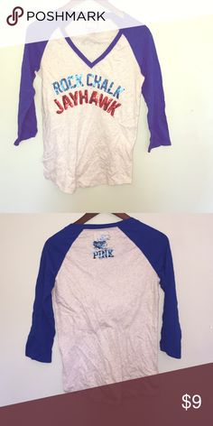 Pink KU Shirt In great condition! Only worn one time! PINK Victoria's Secret Tops
