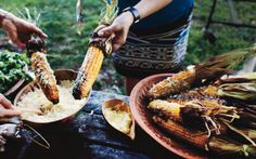 Salvadoran Grilled Corn (Elote Loco): 2000s Recipes + Menus : gourmet.com -- ooh, ahh! Try this with the Argentinian chicken.