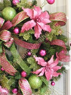 Pink Pizzaz Silk Flower Wreath Southern Charm Wreaths - pink and green Christmas decor Pink Christmas Tree, Tropical Christmas, Victorian Christmas, Christmas Holidays, Christmas Crafts, Christmas Scenes, Christmas Images, Christmas 2019, Poinsettia Wreath