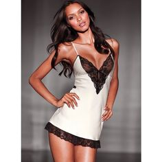 White Lace Hem Sexy Babydoll Lingerie with Black Lace and Floral 890a700b4
