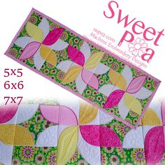 Frangipani quilt blocks and table runner in the hoop machine embroidery design - Sweet Pea Machine Embroidery Machine Embroidery Projects, Machine Embroidery Applique, Machine Quilting, Quilting Projects, Sewing Projects, Cat Applique, Quilting Tutorials, Quilting Ideas, Quilting Designs