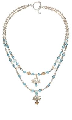 Double-Strand Necklace with Swarovski® Crystal Beads and Sterling Silver Beads