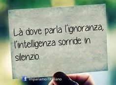 Italian proverb: Where ignorance speaks, intelligence smiles in silence.