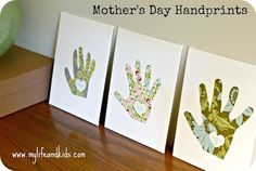 mothers day craft for kids handprint canvases