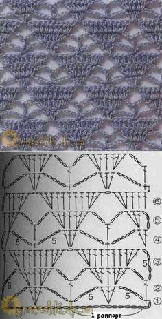 Sjaal met driehoeken gehaakt