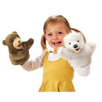 """The Folkmanis set of """"Little Puppets"""" includes six half-body hand puppets ranging from six to ten inches in height. These tiny but fierce creatures (an alligator, hare, brown bear, polar bear, chipmunk, and lion) all have four """"finger openings"""" that allow puppeteers (with a bit of practice) to """"bite"""" their own two front legs/paws-or to """"talk"""" and gesture at the same time. All are sturdily constructed with both realistic and cuddly features."""