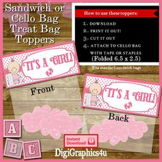 Printable Baby Girl Shower Cello Treat Bag by DigiGraphics4u