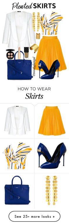 """Mustard Yellow Pleated Skirt"" by trendyglamgal on Polyvore featuring MSGM, Maticevski, Quiz, Roberto Cavalli, Yves Saint Laurent, Gurhan, Designhype, Nicole Fendel, MAC Cosmetics and Gucci"