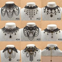 1.39AUD - Retro Steampunk Gothic Black Lace Choker Pendant Necklace Fashion Jewellery 1Pc #ebay #Fashion