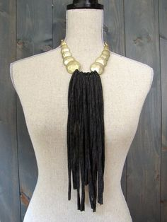 LOVE this... the gold and the black... yep love it // Charcoal and Gold 'Night Out' Upcycled Fabric Fringe & Bead Necklace from Imprintalish