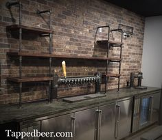 Custom draft wine beer towers. Industrial black iron. Brewery Restaurants and Pubs www.tappedbeer.com