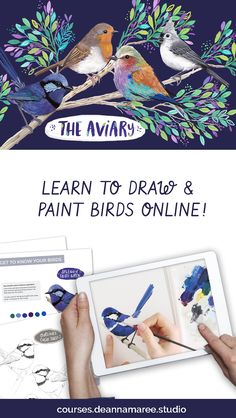 Grow from beginner to bird nerd as you learn how to capture the playfulness and personality of birds with gouache paint! Watercolor Techniques, Painting Techniques, Digital Painting Tutorials, Drawing Tutorials, Outline Pictures, Bird Outline, Simple Wall Art, School Art Projects, Beginner Painting