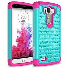 LG G Stylo Case, RANZ® Hot Pink/Teal Spot Diamond Studded Bling Crystal Rhinestone Dual Layer Hybrid Cover Silicone Rubber Skin Hard Case For LG G Stylo (LS770) + Touch Stylus RANZ http://www.amazon.com/dp/B00ZZ3QWQS/ref=cm_sw_r_pi_dp_GG14vb14KMKBG
